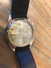 Zodiac Olympos Watch Gold Reissue Black Leather Preowned Automatic