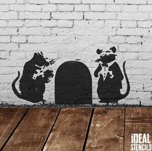 BANKSY STENCIL Rat Doormen Design Graffiti Painting Stencil Walls Fabrics Reuse
