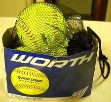 """LOT OF 3 WORTH 12"""" OFFICIAL LEAGUE SOFTBALLS UNSOLD SURPLUS STORE ITEMS"""