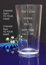 Personalised Engraved Pint mixer spirit VODKA AND PEPSI glass Any occasion gift5
