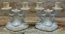 SET OF 2 - LENOX - DOUBLE - CANDLESTICK HOLDERS - 5 5/8 INCHES TALL - GOLD TRIM
