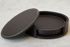 """Set of 4 Round Drink Coasters 4"""" Cup Mat Pads,New in Holder for Home or Office"""