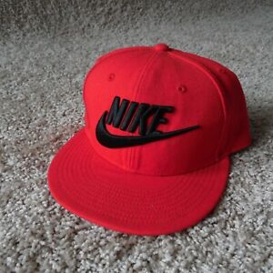 Nike SnapBack Hat Red w/ Black Embroidered Spell Out Logo Swoosh