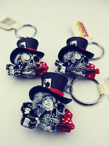 Lot 3 Cigar Smoking Skulls In Top Hat with dice Keychain original tag Halloween
