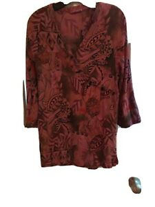 Tianello Med womens pink leafy Pattern tunic