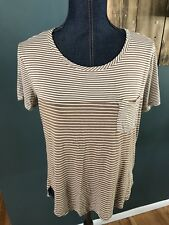 H.I.P. HAPPENING IN THE PRESENT~Stripped Blouse T-shirt Sz L Beige White