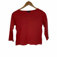 Eileen Fisher 100% Organic Cotton 3/4 Sleeve Shirt Women's Size PP Petite Top