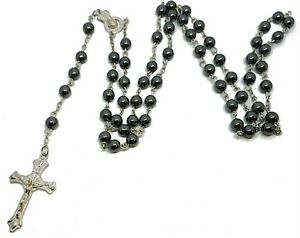 Black Glass Rosary Bead Beads Jesus Cross Necklace Gift Mens Womens