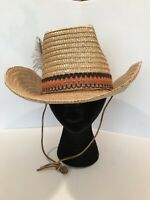 Vintage Men's 6.75 Stomper Straw Hat New Made in Italy Band Feather Leather