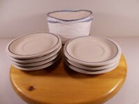 """pfaltzgraff lot of 6 saucers with carrier made in USA 6-1/2"""" sky pattern in blue"""