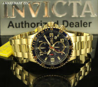NEW Invicta Men's PILOT 45mm Gold Tone Stainless St. BLUE DIAL Chronograph Watch