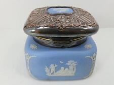 Antique Wedgwood Blue Jasperware Hinged Embossed Silver Lidded Biscuit Tea Jar