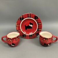 Mesa Home Products Creamers and Salad Plate Terrier Dog Plaid Red Lot of 3
