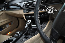 BLACK PERFORATED LEATHER STEERING WHEEL COVER FOR MITSUBISHI ASX WHITE DOUBLE ST