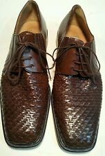 MEZLAN 11M.BROWN WOVEN LEATHER LACE UPS WITH ELASTIC SIDES hand-crafted