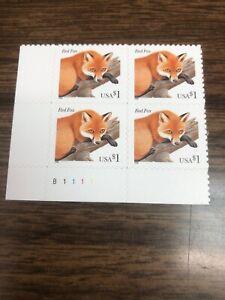 SCOTT 3036 $1.00 RED FOX PLATE BLOCK OF 4 MNH FREE SHIPPING