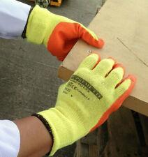 More details for safety work gloves latex coated grip orange rubber heavy duty gardening builder