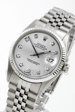 Rolex Mens Datejust Steel Silver Diamond Gold Fluted Jubilee 16014 Quickset