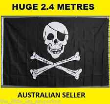 Huge 2.4 Metre Pirate New Flag 8x5ft Big Giant Jolly Roger Skull & Crossbone