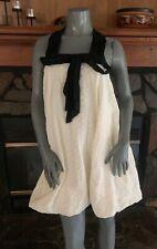 White Black Halter Eyelet Lace Dress Bubble Hem by RYU Size Large