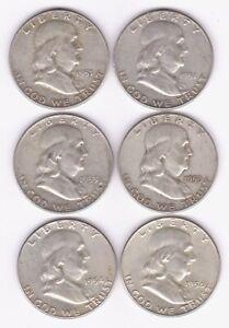 US Franklin 50c X 6, 2 X 1951D, 2 X 1953D, 1954D, & 1954P