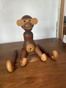 Kay Bojesen Articulated Teak Monkey Made in Denmark Copyright Danish