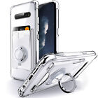 For LG V60 V50 V40 V30 ThinQ Case with Card Holder & Ring Stand Clear Cover