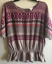 Ladies Women's size M Medium Sonoma brown & maroon southwest top shirt blouse