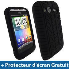 Noir Pneu Silicone Etui pour HTC Wildfire S Android Portable Housse Coque Case