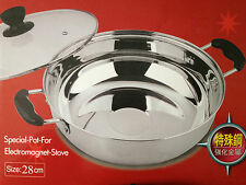 Stainless Steel Steamboat Pot 28 Cm - Chinese Asian Hot Pot Cooking Steam Boat