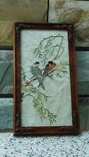 "ANTIQUE 18C CHINESE EMBROIDERY FORBIDDEN STICHES ""TWO BIRDS""FRAMED WITH GLASS"