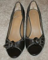 Etienne Aigner Open Toe Heels Shoes Brown Leather Womens Size 7M