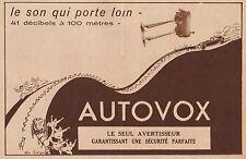 Y7094 Avertisseur AUTOVOX - Pubblicità d'epoca - 1934 Old advertising