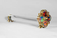 Handmade Transparent Kaleidoscope w/ Mirrors, Wheels, Colorful Stones & Beads