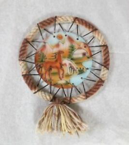 """Souvenir Kyrgyzstan """"Lama in the mountains"""" Handcrafted Wall Art New Gift"""