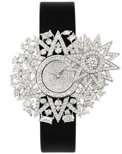 Solid 925 Sterling Silver women's wrist watch Flower Sun Dial Black Vegan belt