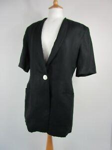 Vintage Bogner 1980s Pure Linen Black Jacket UK Size 14