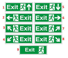 Fire Exit Sign Sticker All Direction Arrows Self Abrasive Vinyl Sticker Decal