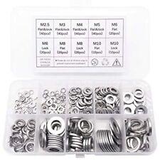 260 Pcs 7-Size 304 Stainless Steel Flat Washer & Lock Assortment Set (Size M3