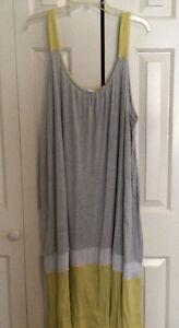 Secret Treasures Gray & White Pinstripe W Yellow Trim Nightgown Size 4X EUC