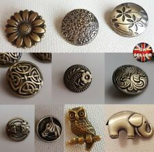 BRONZE METAL BUTTONS – SHANK, CARDIGAN, FLOWER, CELTIC, OWL, ELEPHANT CUTOUT, UK