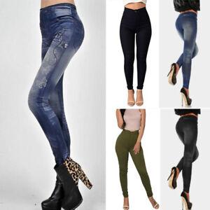 Womens Ladies Casual Thermal Leggings Thick Fleece Winter Warm Gym Denim Jeans
