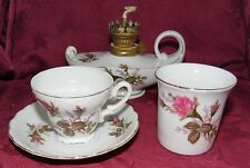 Royal Sealy China Moss Rose Miniature Aladdin Oil Lamp Cup & Saucer & Glass Vase