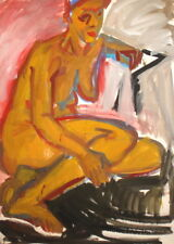 VINTAGE GOUACHE PAINTING EXPRESSIONISM NUDE FIGURE