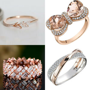 18k Rose Plated Women leaf Jewelry Wedding Engagement Party Gift Ring Sz 6-10