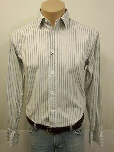DIOR Designer Hemd KW40 Kentkragen 100% Baumwolle Weiß Grau Schwarz Streifen