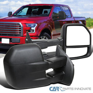 For 15-19 Ford F150 Matte Black Manual Extendable Side Towing Mirrors Left+Right