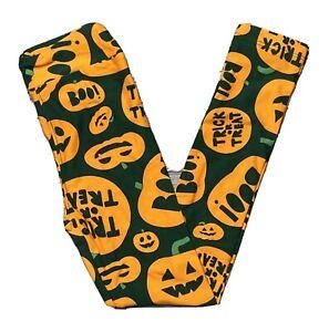 NEW LulaRoe Leggings Halloween KIDS Green w Orange Pumpkins L/XL