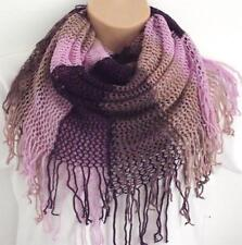 Striking Striped Tassle Knit Circle Loop Infinity Scarf Snood - Christmas Gift