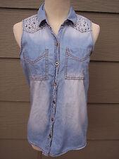 MUDD Button Top Junior Sz S Blue Denim Sleeveless Shirt Embellished Silver Studs